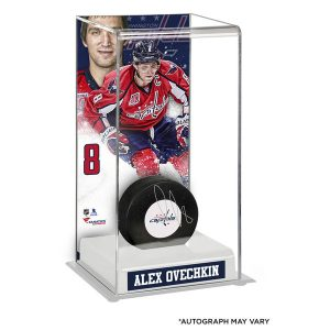 Autographed Alex Ovechkin Authentic Puck with Deluxe Tall Hockey Puck Case