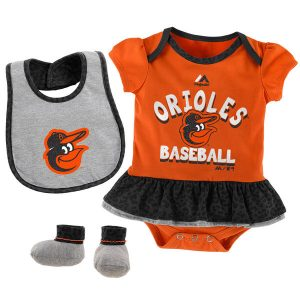 Baltimore Orioles Majestic Girls Newborn & Infant Wild Card Bib, Bootie & Bodysuit Set