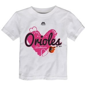 Baltimore Orioles Majestic Girls Toddler Triple Heart T-Shirt