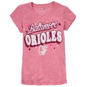 Girls Youth Baltimore Orioles 5th & Ocean by New Era Pink Stars Tri-Blend V-Neck T-Shirt