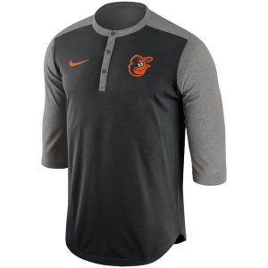 Men's Baltimore Orioles Nike Black Dry Henley 3/4-Sleeve Performance T-Shirt
