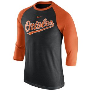 Men's Baltimore Orioles Nike Black Wordmark Three-Quarter Sleeve Tri-Blend Raglan T-Shirt