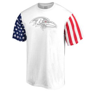 Men's Baltimore Ravens White Stars & Stripes T-Shirt
