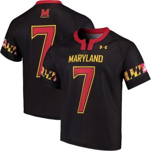 Men's Under Armour #7 Black Maryland Terrapins Replica Lacrosse Performance Jersey