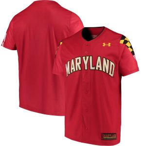 Men's Under Armour Red Maryland Terrapins Replica Performance Baseball Jersey