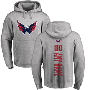 Men's Washington Capitals Fanatics Branded Ash Personalized Backer Pullover Hoodie