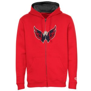 Mens Washington Capitals Old Time Hockey Red Conway Full Zip Hoodie