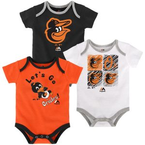 Newborn & Infant Baltimore Orioles Majestic Black/Orange/White Go Team 3-Pack Bodysuit Set