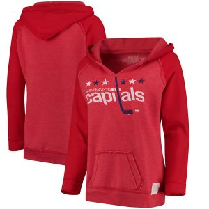 Washington Capitals Original Retro Brand Women's Relaxed Notched Pullover Hoodie