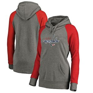Washington Capitals Women's Distressed Team Primary Logo Tri-Blend Pullover Hoodie