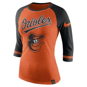 Women's Baltimore Orioles Nike Orange Tri-Blend 3/4-Sleeve Raglan T-Shirt