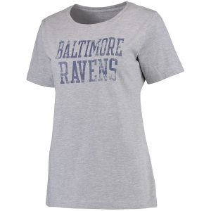 Women's Baltimore Ravens NFL Pro Line Heathered Gray Straight Out Relaxed T-Shirt