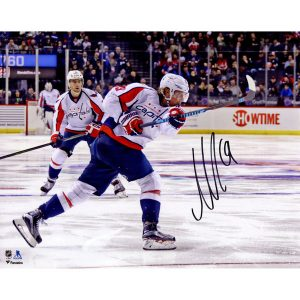 "Autographed Washington Capitals Nicklas Backstrom 8"" x 10"" White Jersey Shooting Photograph"