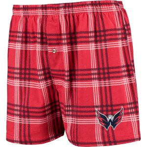 Men's Washington Capitals Concepts Sport Red/Navy Playoff Plaid Knit Boxer Shorts