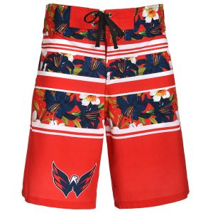 Men's Washington Capitals Red Floral Stripe Boardshorts