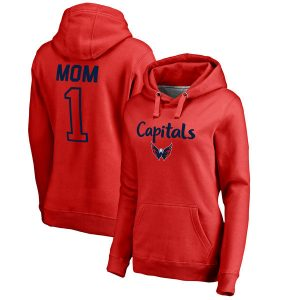 Women's Fanatics Branded Red Washington Capitals Plus Sizes Number 1 Mom Pullover Hoodie